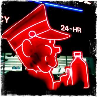Neon Boneyard at Night